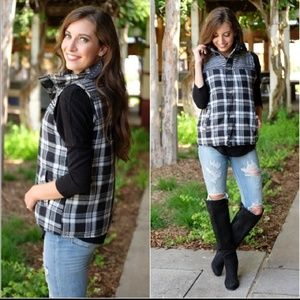 Aztec Black Plaid Puffer Vest